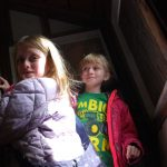 Kids exploring the loft area of the apple barn