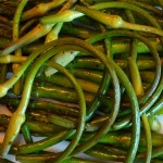 roasted scapes and asparagus
